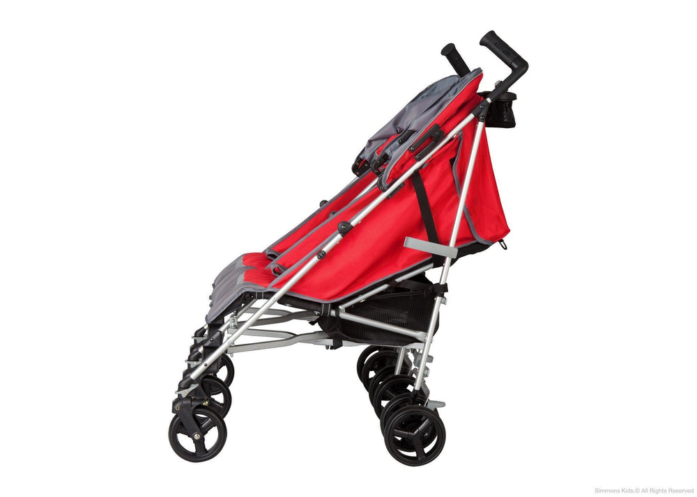 Simmons Kids Red Tour LX Side by Side Stroller, Full Left Side View