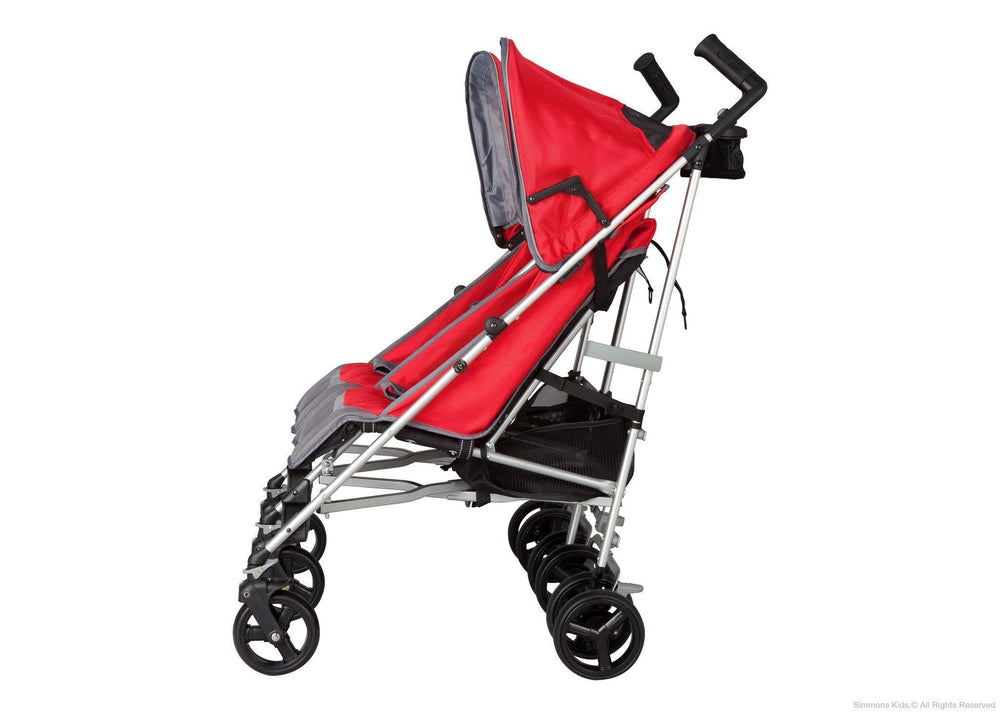 Simmons Kids Red Tour LX Side by Side Stroller, Full Left Side View with Canopy 2