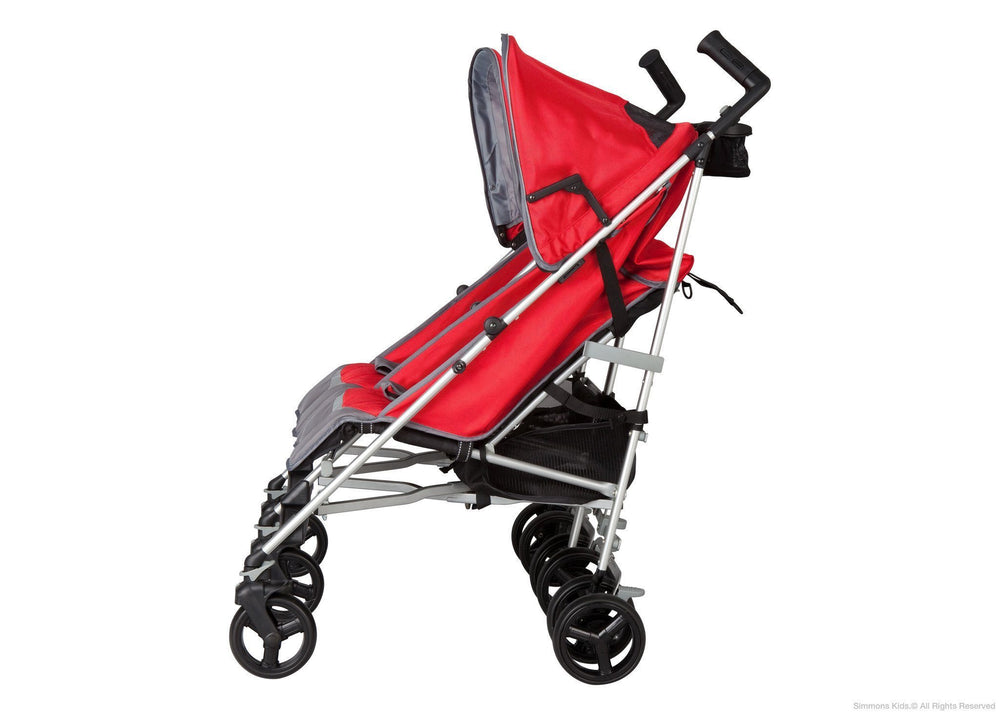 Simmons Kids Red Tour LX Side by Side Stroller, Full Left Side View with Canopy