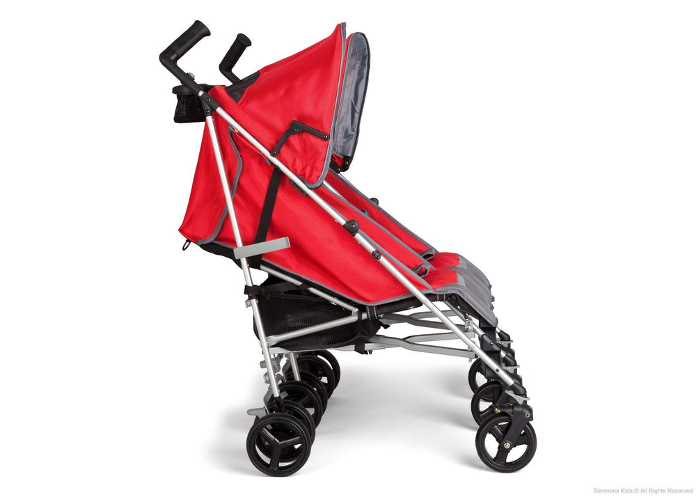 Simmons Kids Red Tour LX Side by Side Stroller, Red (623) Full Left Side View a2a