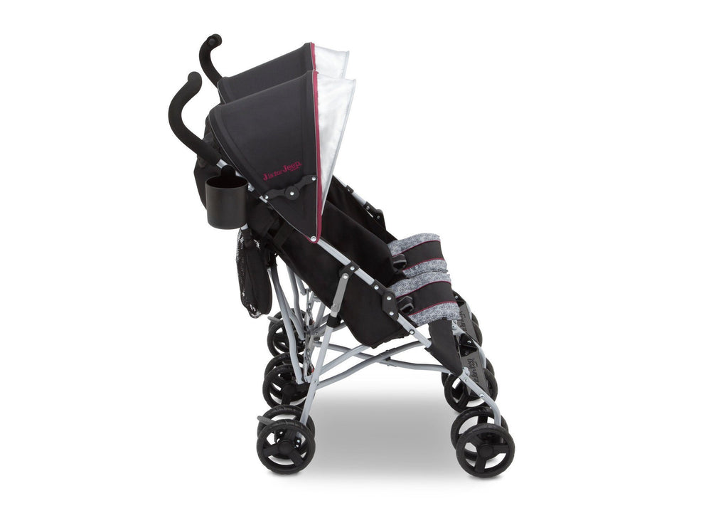 J is for Jeep Brand Scout Double Stroller Lunar Burgundy (0981), Full Right View c2c