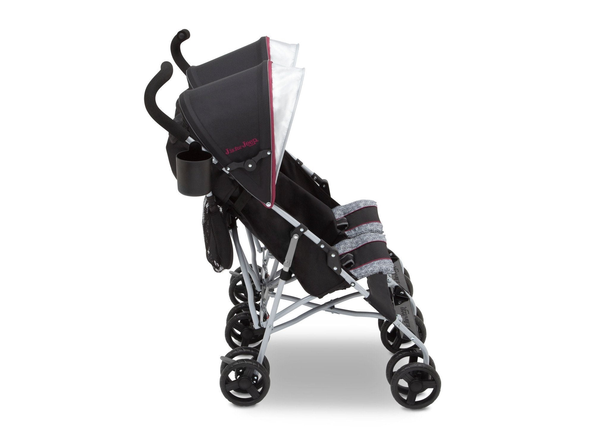 Jeep Brand Scout Double Stroller by Delta Children, Lunar Burgundy (0981), with parent cup holder