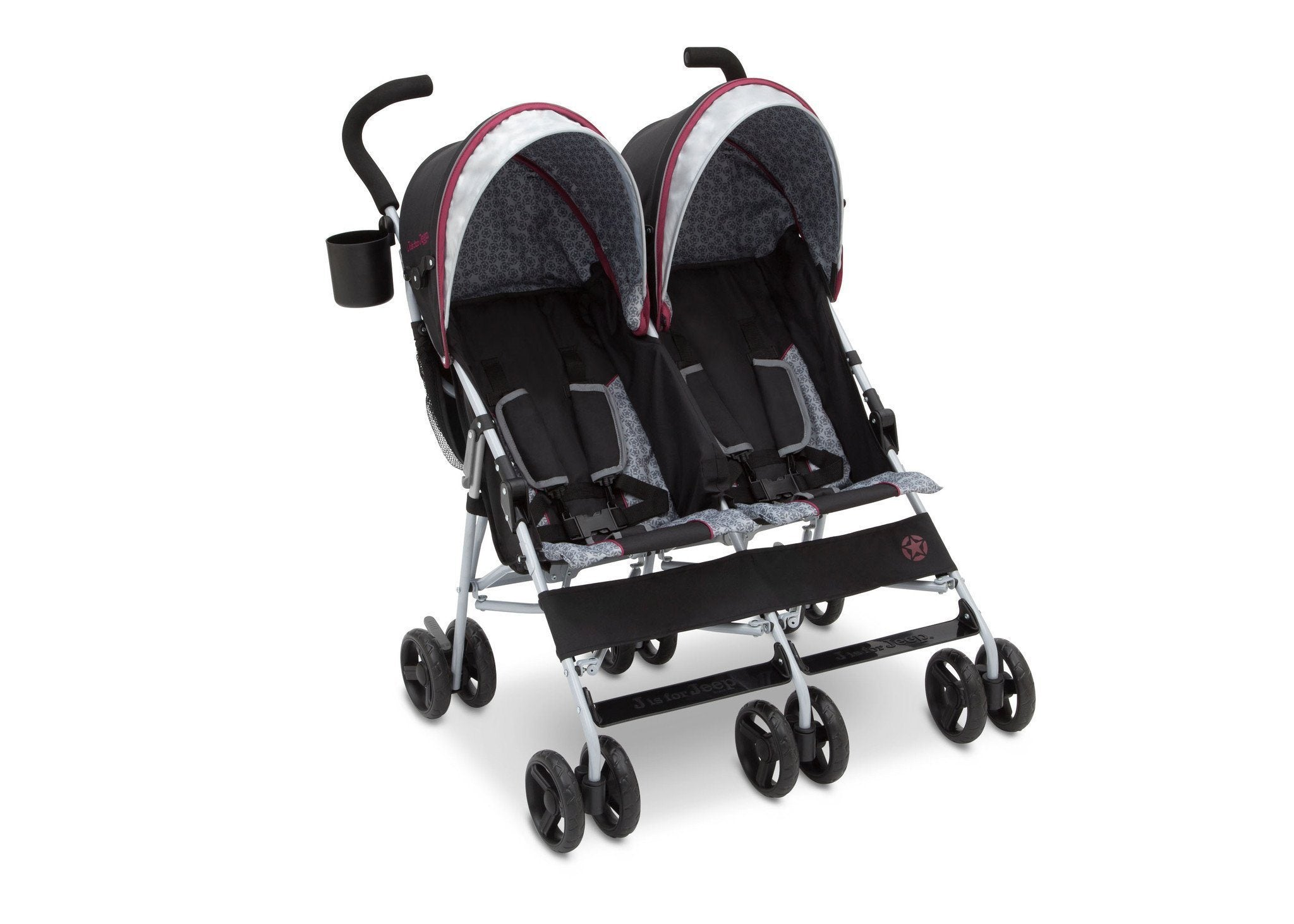 Jeep Brand Scout Double Stroller by Delta Children, Lunar Burgundy (0981), with multi-position reclining seat
