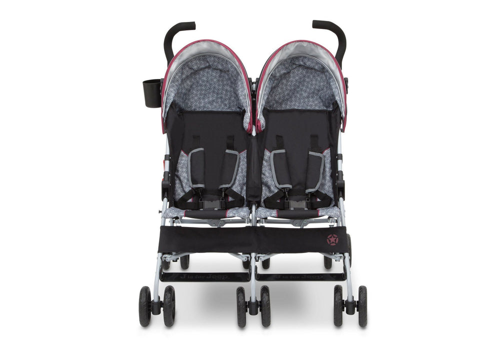 J is for Jeep Brand Scout Double Stroller Lunar Burgundy (0981), Front View c3c