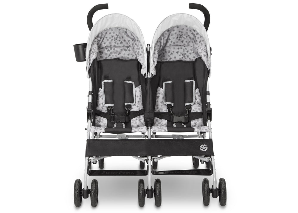 Delta Children Charcoal Galaxy (2271) J is for Jeep® Brand Scout Double Stroller, Front View d4d