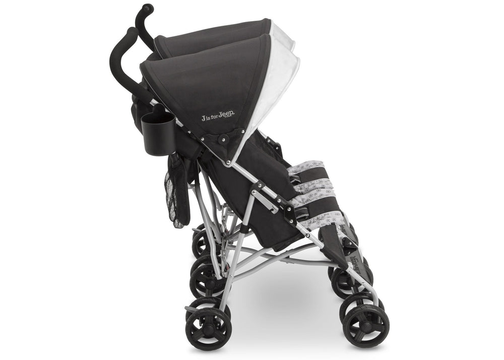 Delta Children Charcoal Galaxy (2271) J is for Jeep® Brand Scout Double Stroller, Side View d2d