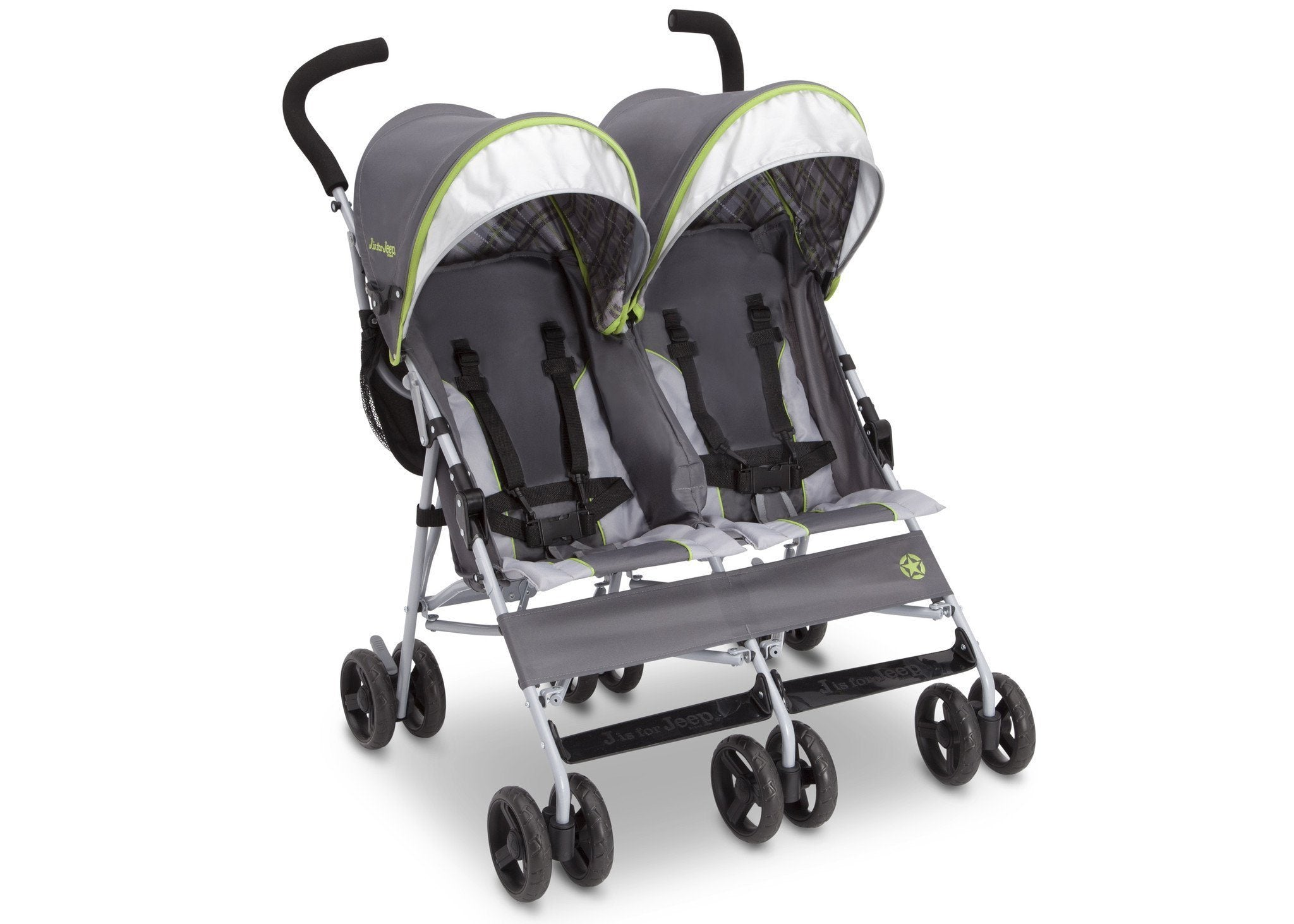 Jeep Brand Scout Double Stroller by Delta Children, Fairway (340), with extendable European-style canopy