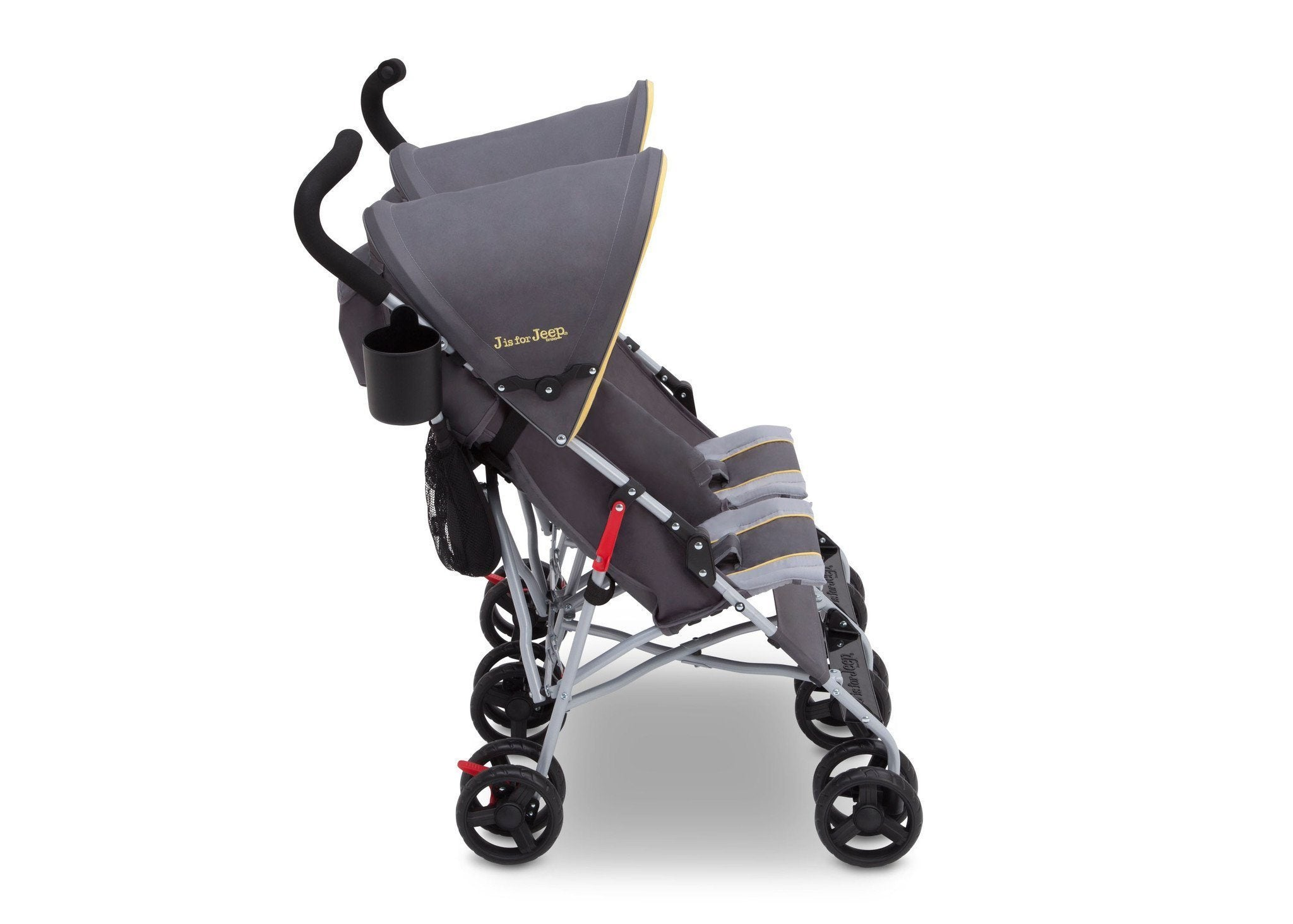 Jeep Brand Scout Double Stroller by Delta Children, Spot On (722), with parent cup holder