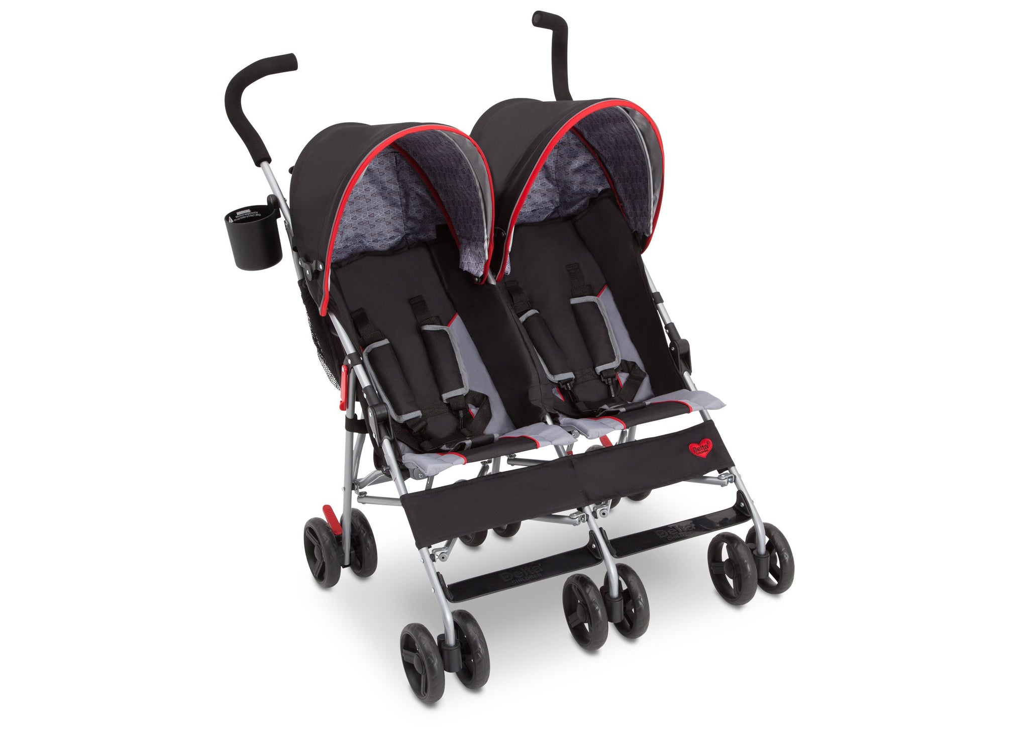 Delta Children Red Triangular (2246) LX Plus Side x Side Double Stroller (11709), Angled with Canopy, b1b