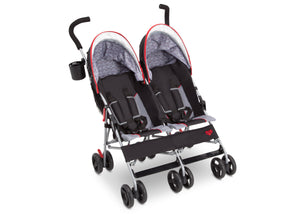Delta Children Red Triangular (2246) LX Plus Side x Side Double Stroller (11709), Angled No Canopy, b3b