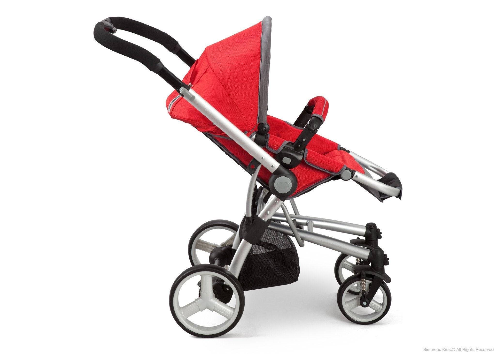 Simmons Kids Red (623) Tour Vantage Stroller, Red Full Right Side View with Canopy a2a