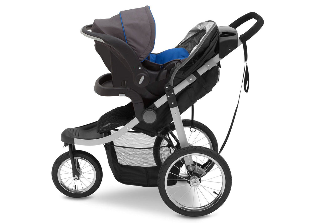 Delta Children J is for Jeep Brand Trek Grey Tonal (0261) Cross Country All Terrain Jogging Stroller Full Left Side View a2a