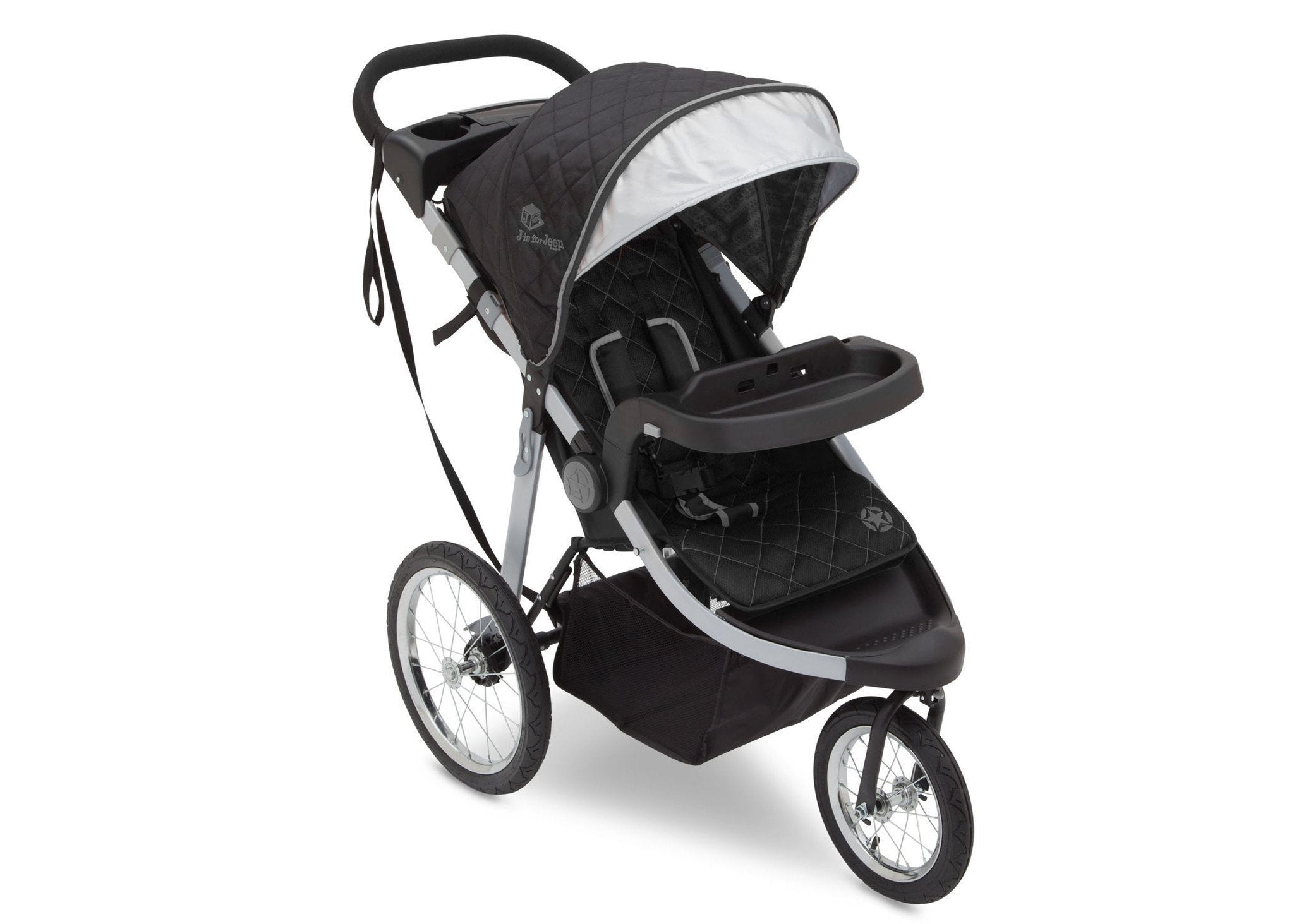 Delta Children J is for Jeep Brand Trek Grey Tonal (0261) Cross Country All Terrain Jogging Stroller Full Left Side View a1a