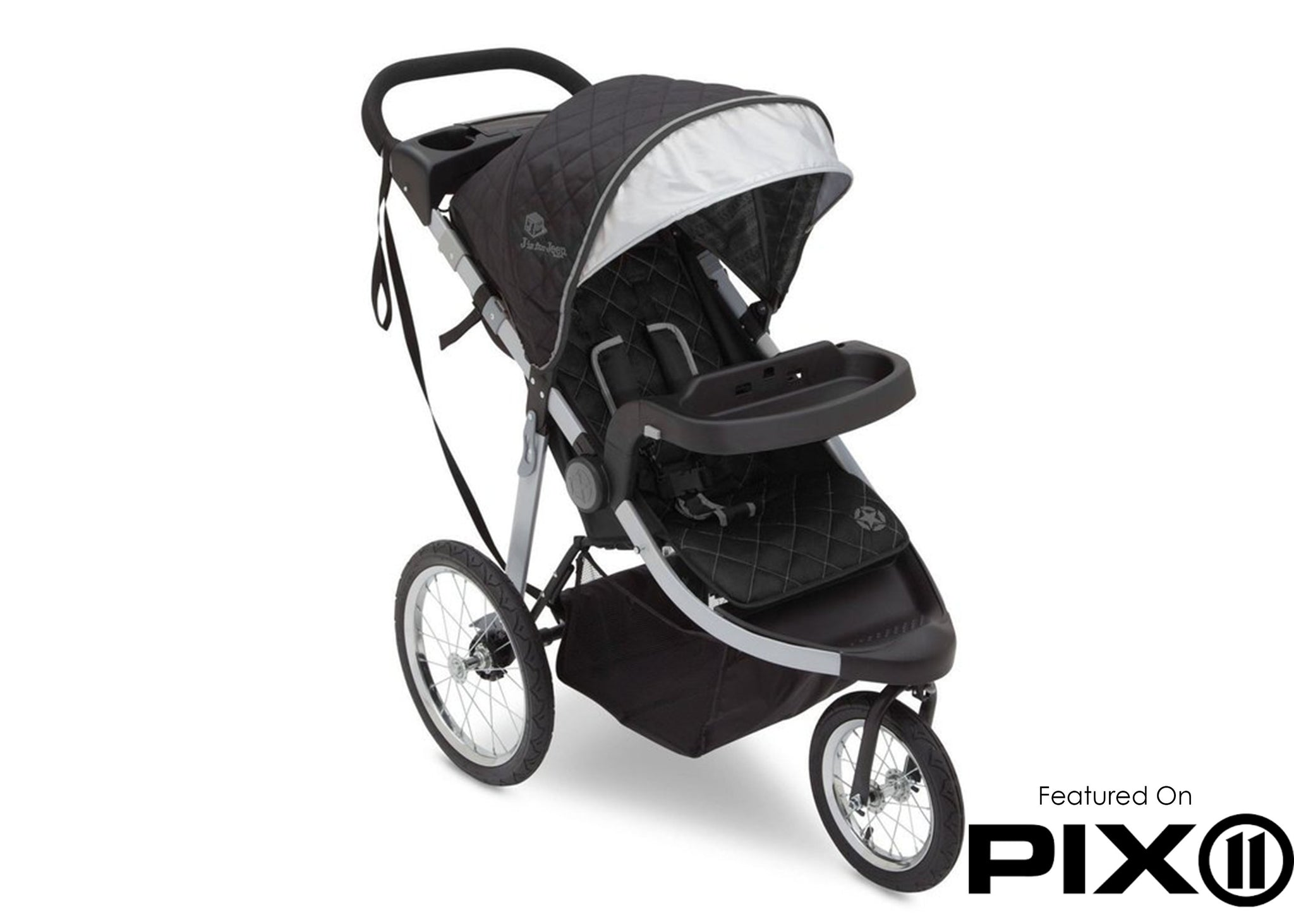 Delta Children J is for Jeep Brand Trek Grey Tonal (0261) Cross Country All Terrain Jogging Stroller Folded a4a