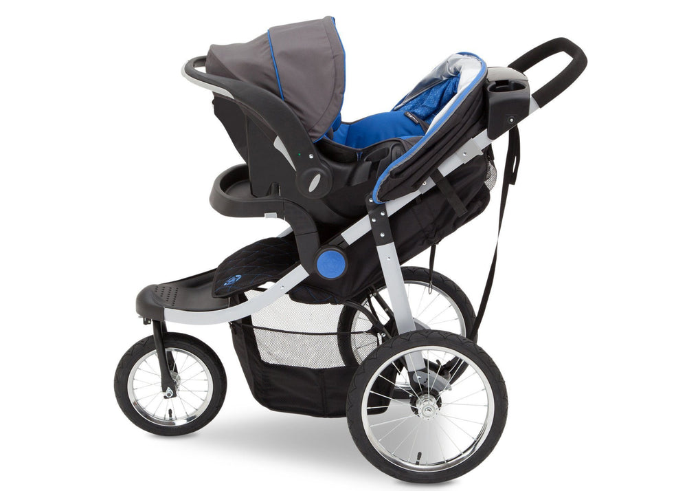 Delta Children J is for Jeep Brand Trek Blue Tonal (436) Cross Country All Terrain Jogging Stroller Full Left Side View b4b