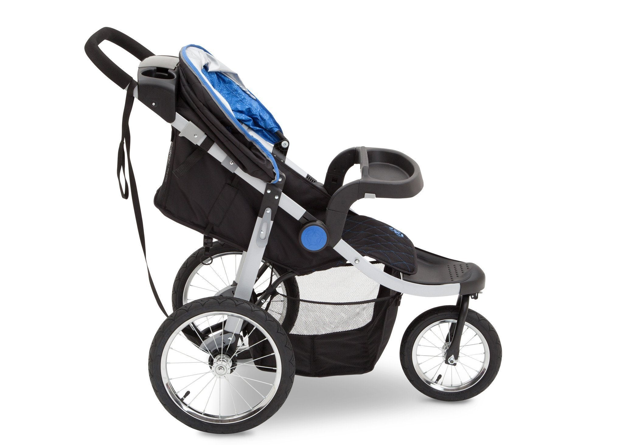 Delta Children J is for Jeep Brand Trek Blue Tonal (436) Cross Country All Terrain Jogging Stroller Full Side View, with Child Tray b3b