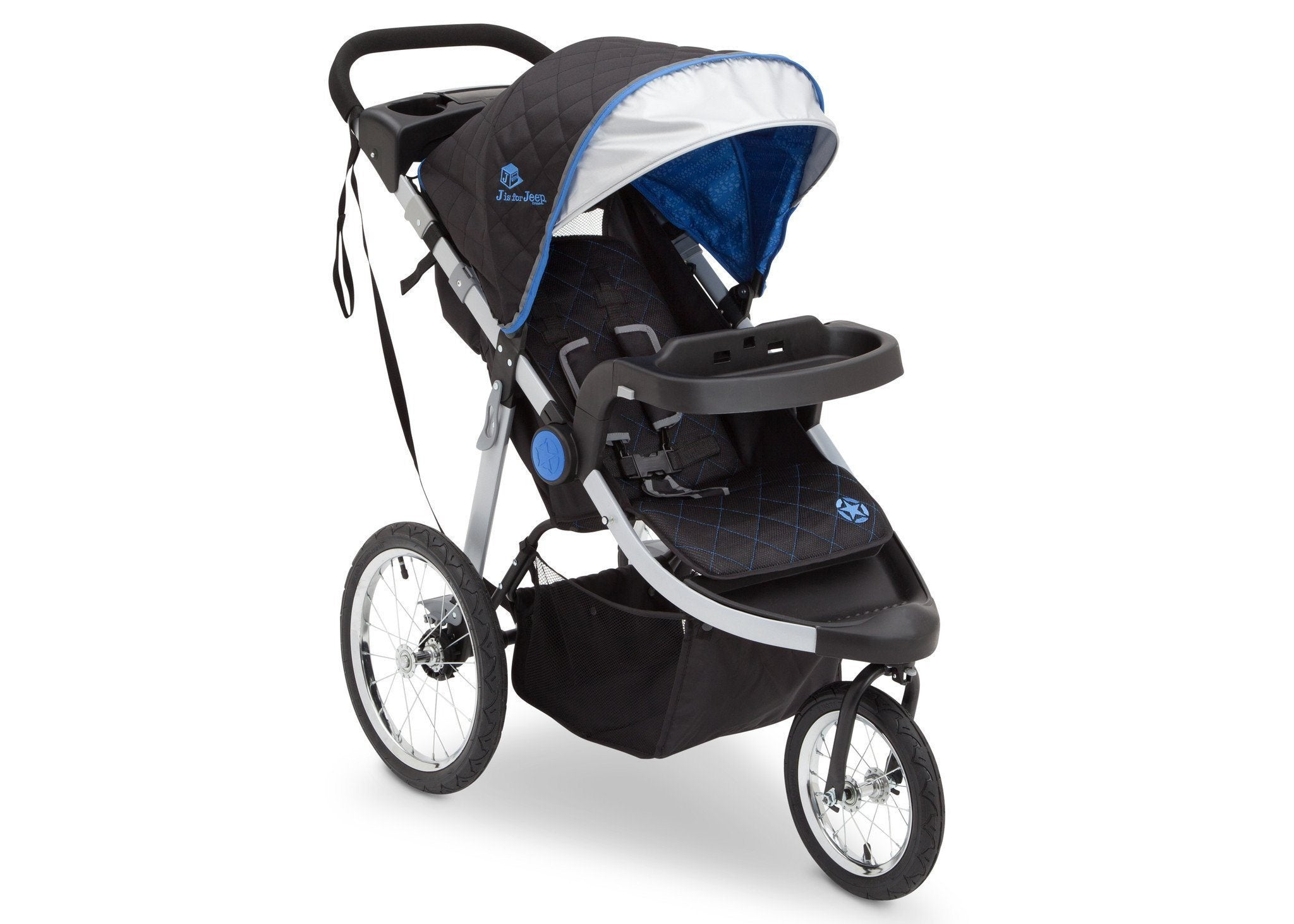 Delta Children J is for Jeep Brand Trek Blue Tonal (436) Cross Country All Terrain Jogging Stroller Right Side View, with Canopy, Child Tray and Sun Visor b1b