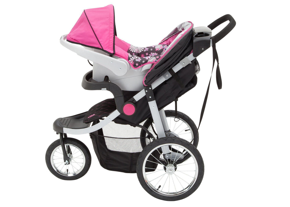 Delta Children J is for Jeep Brand Trek Pink Tonal (656) Cross Country All Terrain Jogging Stroller Left Side View c4c
