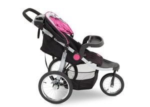 Delta Children J is for Jeep Brand Trek Pink Tonal (656) Cross Country All Terrain Jogging Stroller Full Right Side View, with Child Tray  c3c