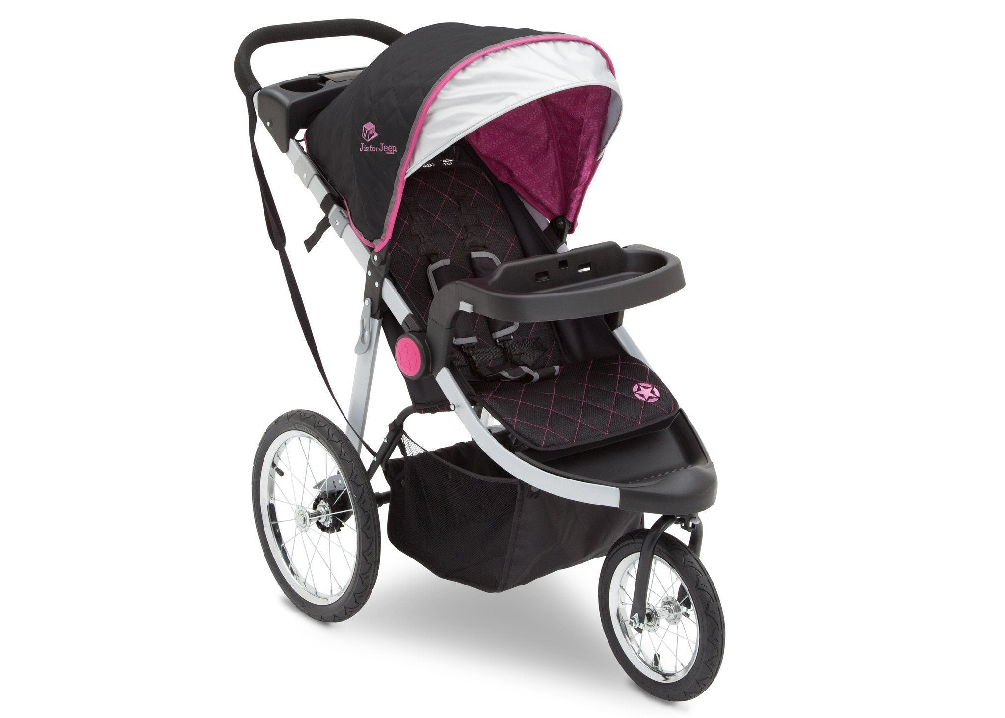 Delta Children J is for Jeep Brand Trek Pink Tonal (656) Cross Country All Terrain Jogging Stroller Right Side View, with Canopy, Child Tray and Sun Visor c1c