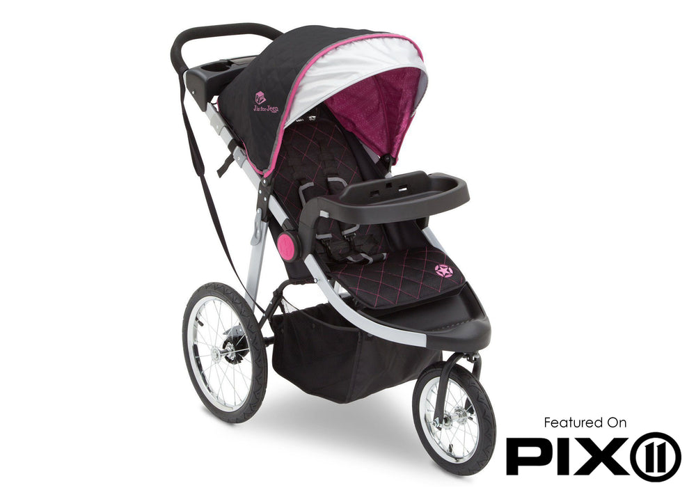 Delta Children J is for Jeep Brand Trek Pink Tonal (656) Cross Country All Terrain Jogging Stroller Folded c6c