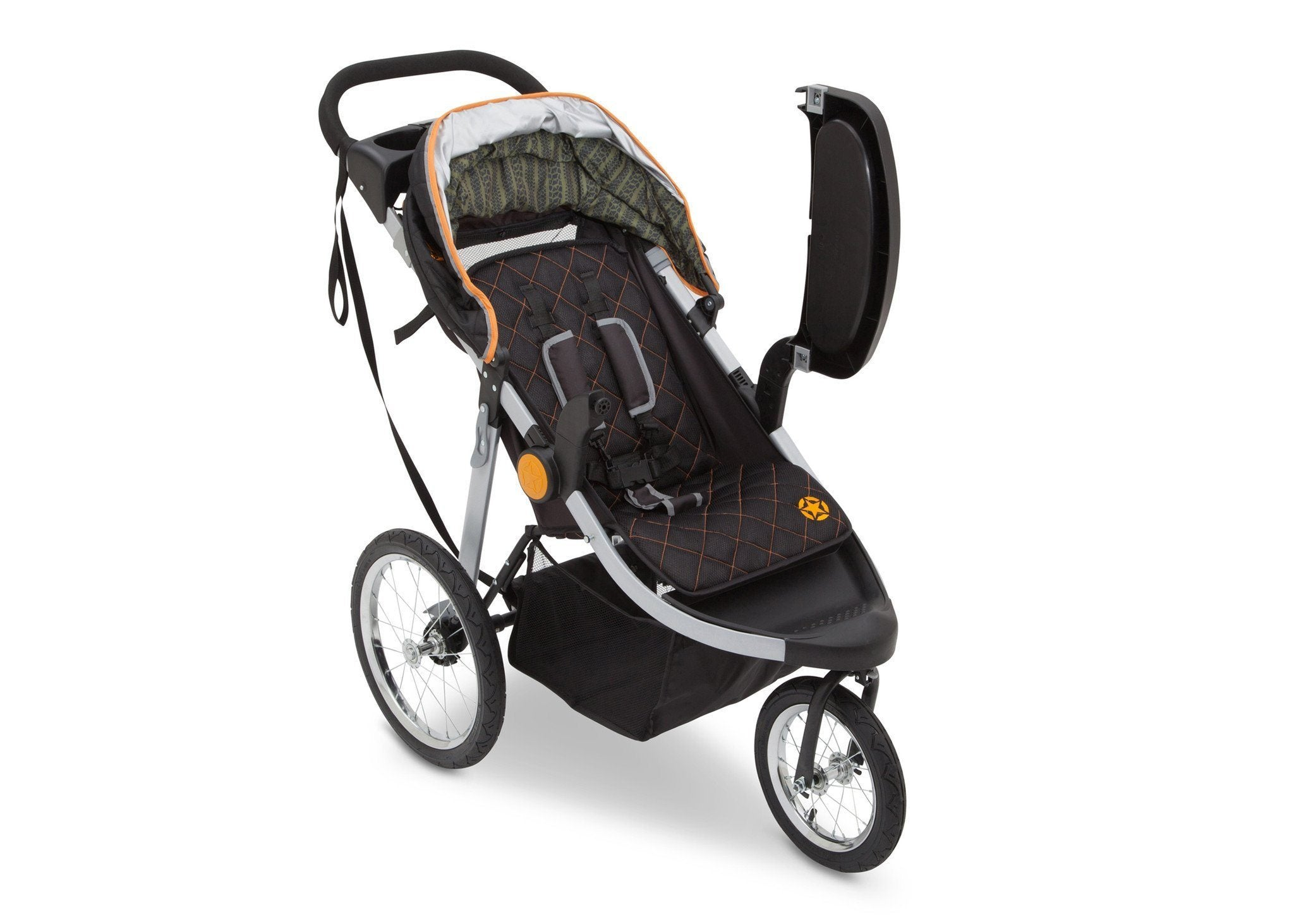 Delta Children J is for Jeep Brand Trek Orange (835) Cross Country All Terrain Jogging Stroller Right Side View d2d
