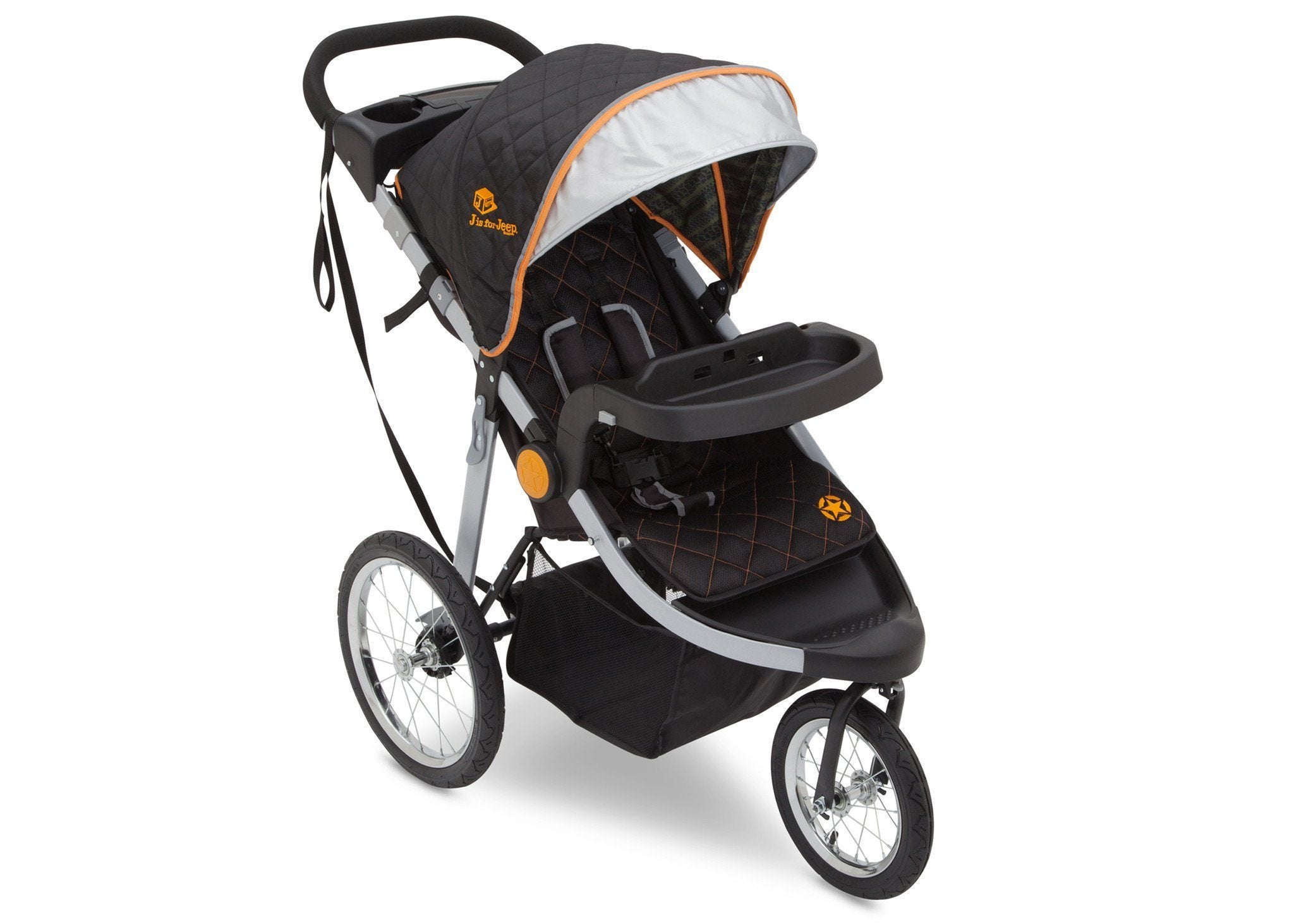 Delta Children J is for Jeep Brand Trek Orange (835) Cross Country All Terrain Jogging Stroller Right Side View, with Canopy, Child Tray and Sun Visor d1d