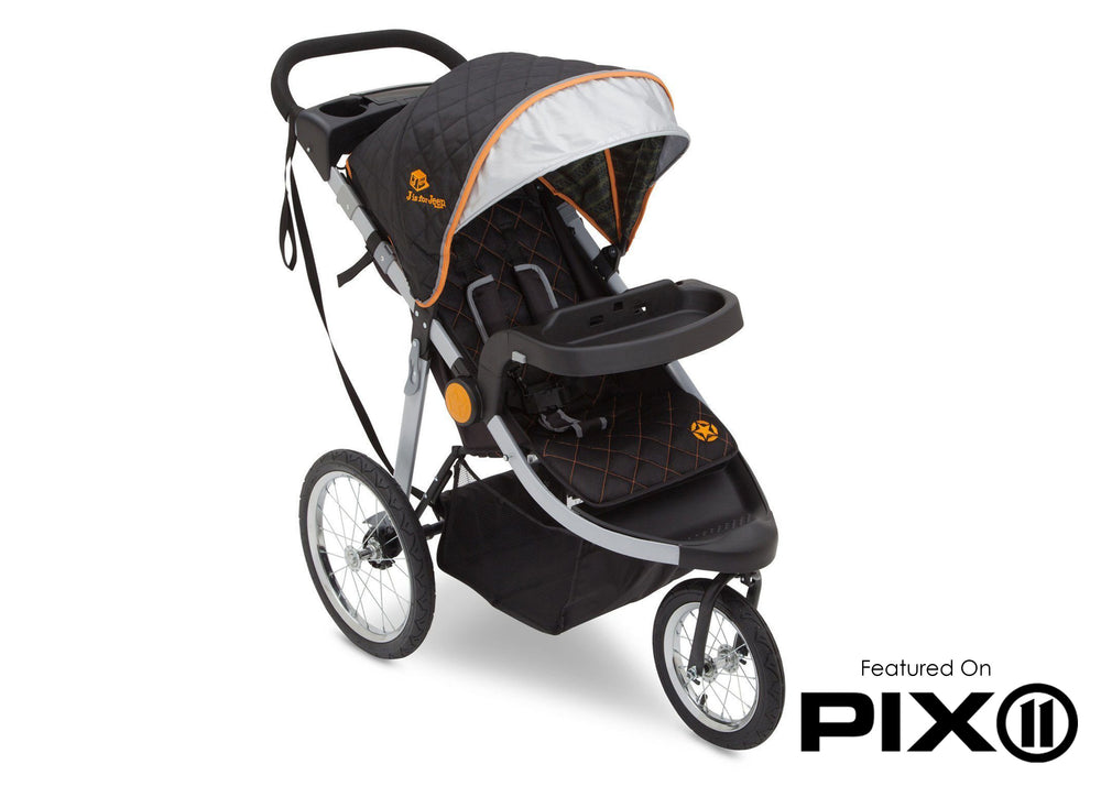 Delta Children J is for Jeep Brand Trek Orange (835) Cross Country All Terrain Jogging Stroller, Folded d5d