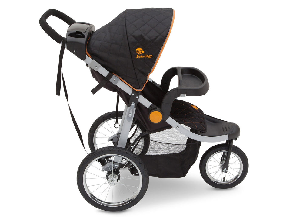 Delta Children J is for Jeep Brand Trek Orange (835) Cross Country All Terrain Jogging Stroller Full Right Side View, with Canopy and Child Tray d3d