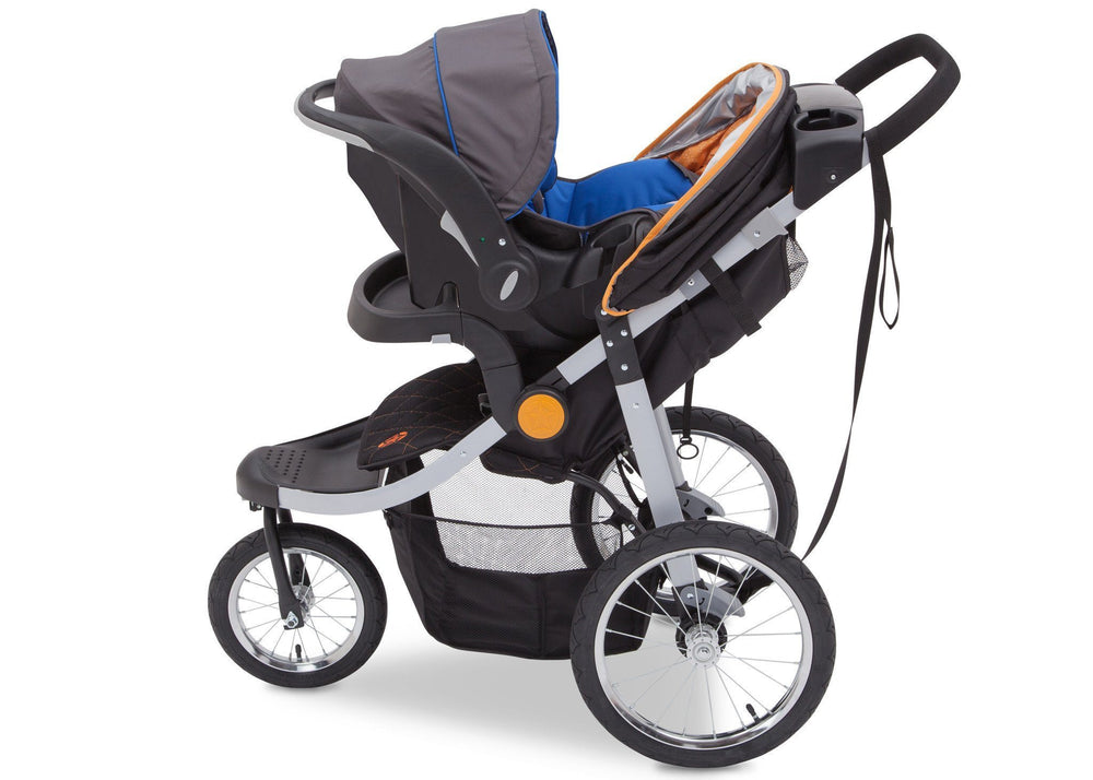 Delta Children J is for Jeep Brand Trek Orange Tonal (838) Cross Country All Terrain Jogging Stroller Full Left Side View e4e