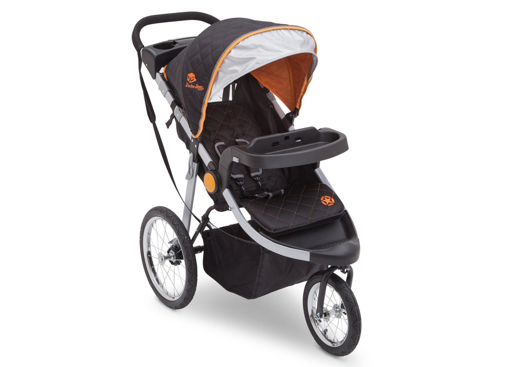 Delta Children J is for Jeep Brand Trek Orange Tonal (838) Cross Country All Terrain Jogging Stroller Right Side View, with Canopy, Child Tray and Sun Visor e1e
