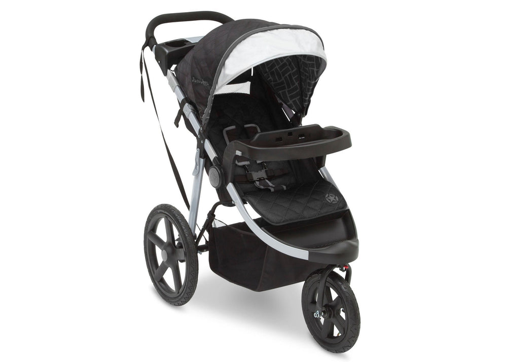 Delta Children Charcoal Tracks (0251) J is for Jeep Brand Adventure All Terrain Jogger Stroller Right Side View, with Canopy and Child Tray e1e