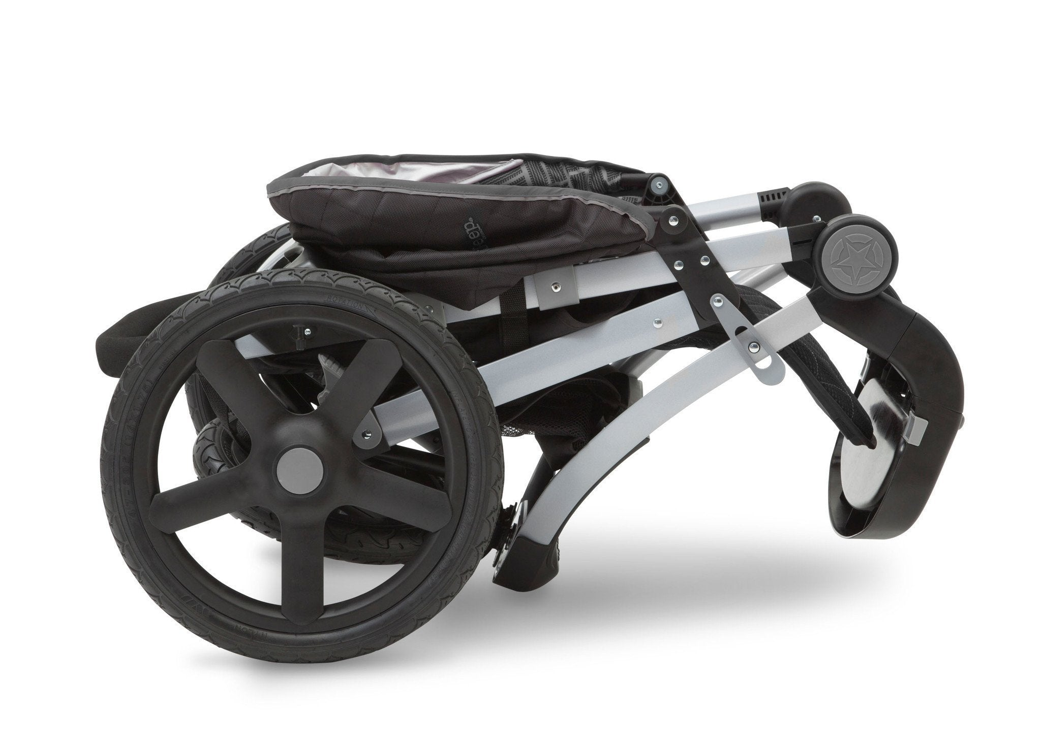 Jeep Adventure All Terrain Jogger Stroller by Delta Children, Charcoal Tracks (0251), can be folded quickly and compactly