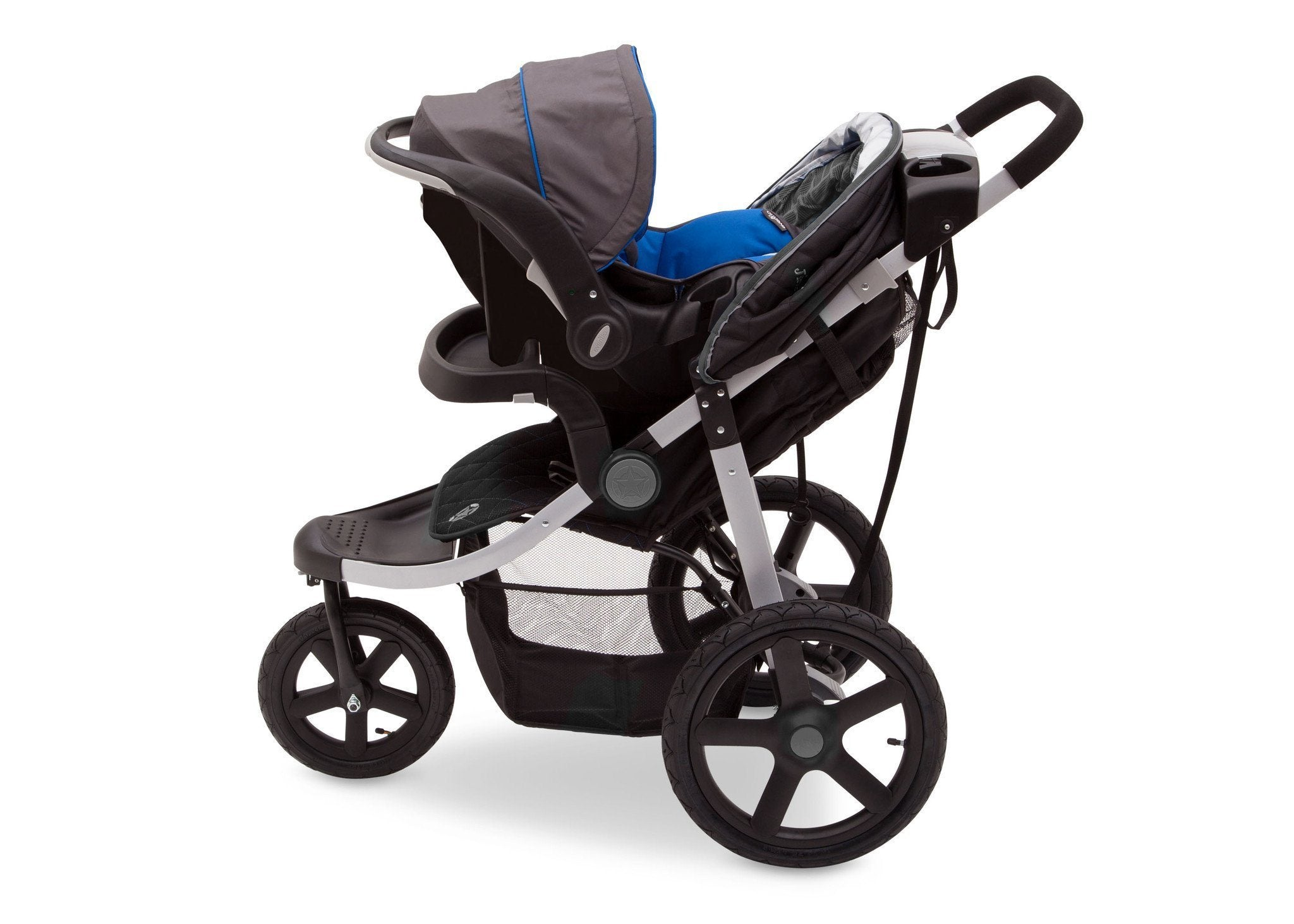 Jeep Adventure All Terrain Jogger Stroller by Delta Children, Charcoal Tracks (0251), with generous undercarriage storage bin