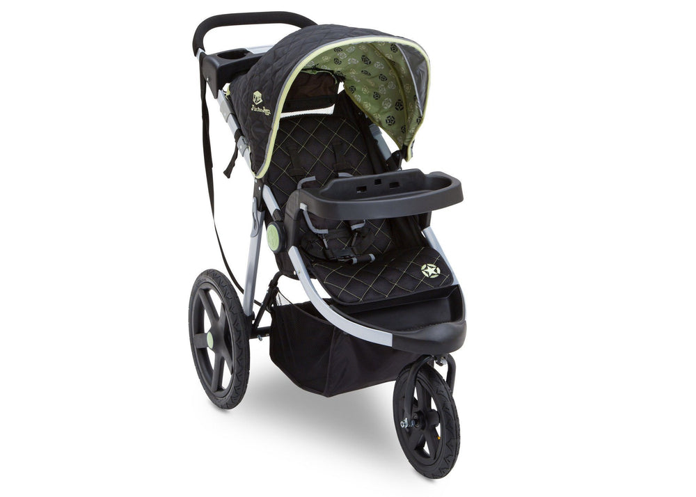Delta Children Destination (314) J is for Jeep Brand Adventure All Terrain Jogger Stroller Right Side View, with Canopy and Child Tray Tracks d1d