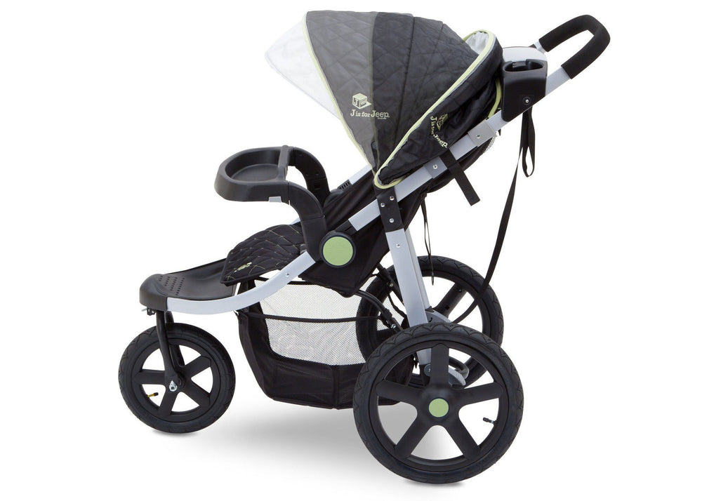J is for Jeep Brand Adventure All Terrain Jogger Stroller Charcoal Tracks (0251), Side View with Canopy and Child Tray e2e