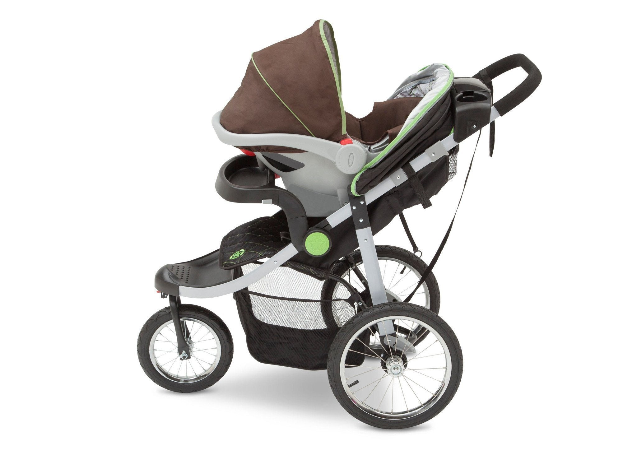 Delta Children J is for Jeep Brand Fairway (340) Cross Country All Terrain Jogging Stroller with infant car seat, f4f