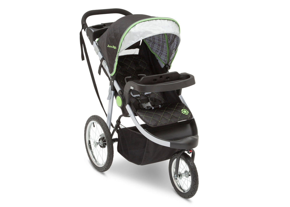 Delta Children J is for Jeep Brand Fairway (340) Cross Country All Terrain Jogging Stroller Right Side View, with Canopy, Child Tray and Sun Visor f1f