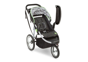 Delta Children J is for Jeep Brand Fairway (340) Cross Country All Terrain Jogging Stroller Right Side View, with Canopy, Child Tray f2f