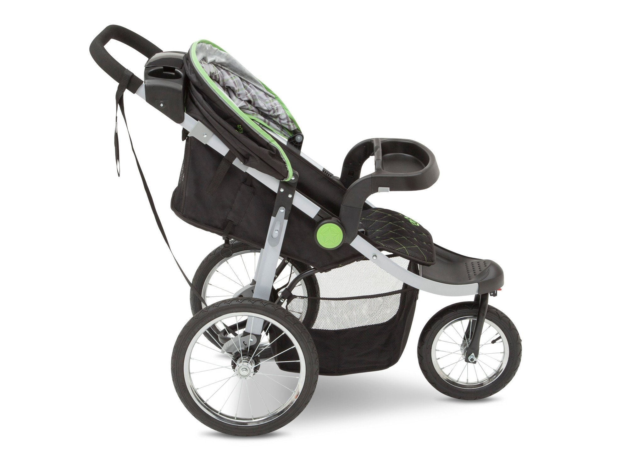 Delta Children J is for Jeep Brand Fairway (340) Cross Country All Terrain Jogging Stroller Right Side View, with Canopy, Child Tray f3f