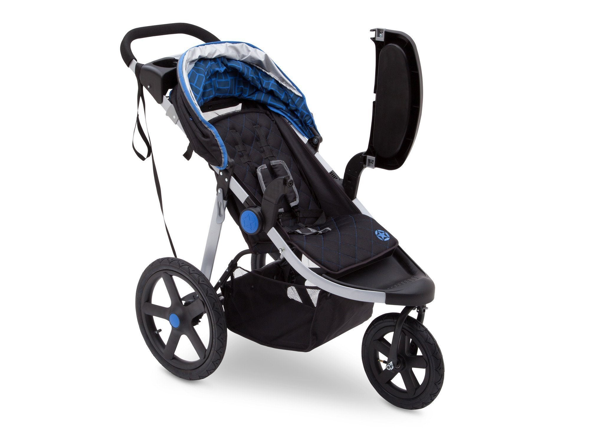 Jeep Adventure All Terrain Jogger Stroller by Delta Children, Tracks (439), with swing-away child tray for easy infant loading