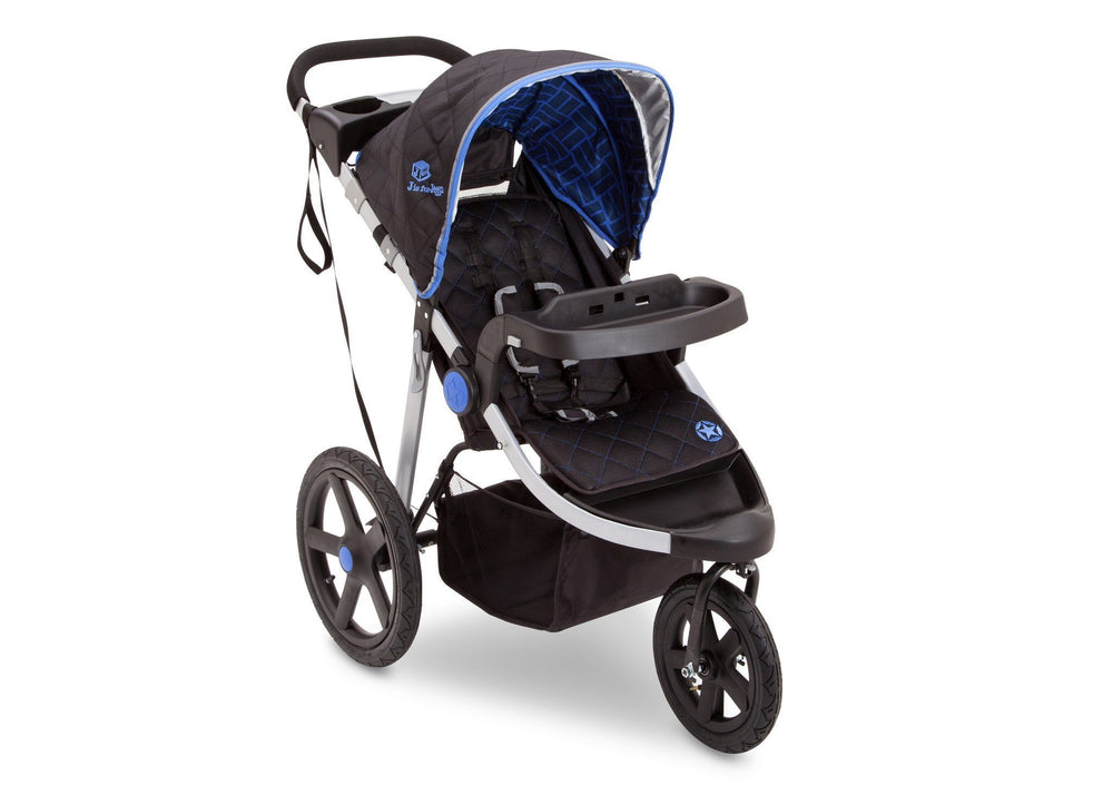 Delta Children Tracks (439) J is for Jeep Brand Adventure All Terrain Jogger Stroller Right Side View, with Canopy and Child Tray Tracks a1a