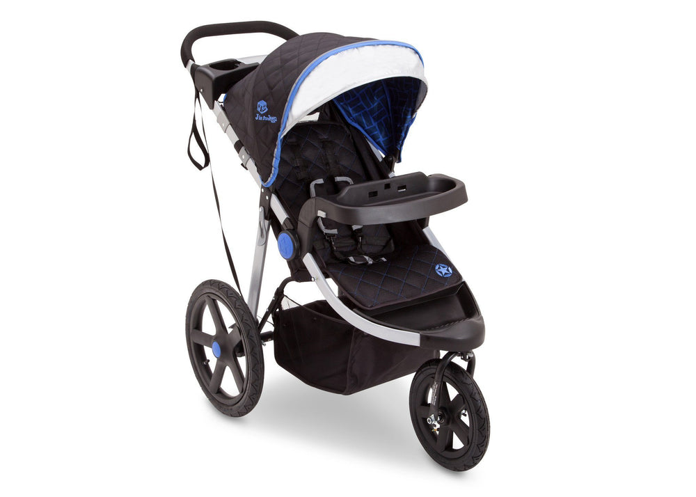 Delta Children Tracks (439) J is for Jeep Brand Adventure All Terrain Jogger Stroller Right Side View, with Canopy and Child Tray Tracks a2a