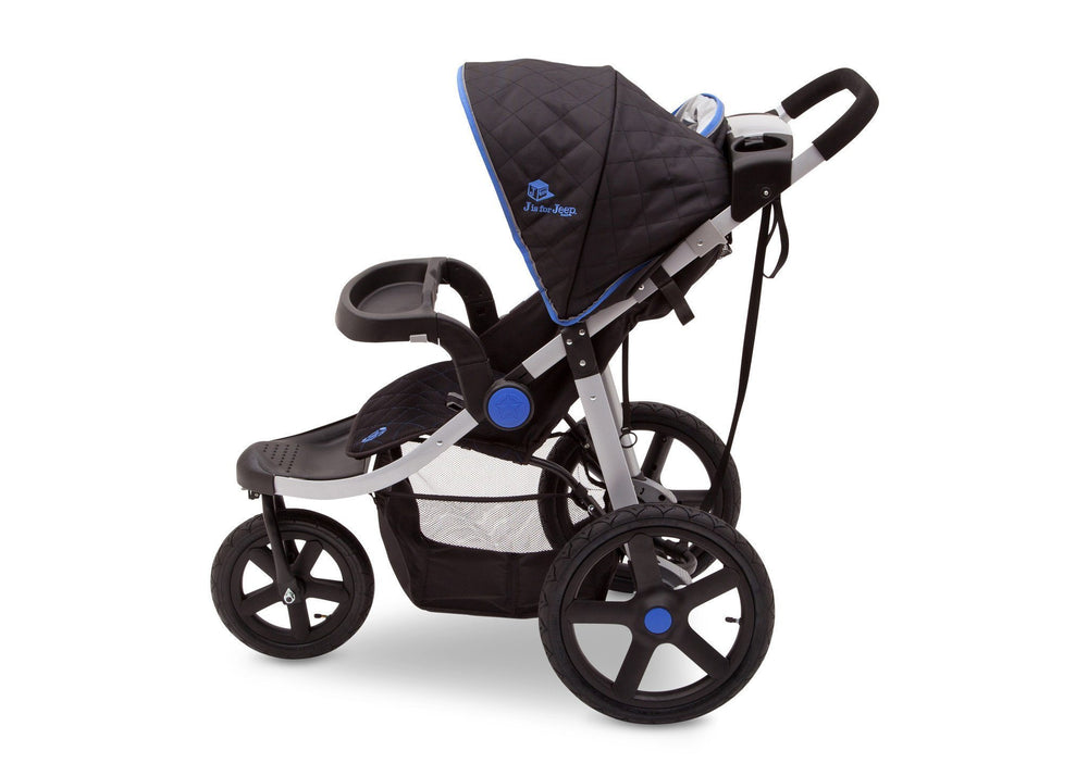 Delta Children Tracks (439) J is for Jeep Brand Adventure All Terrain Jogger Stroller Full Left Side View, with Canopy and Child Tray
