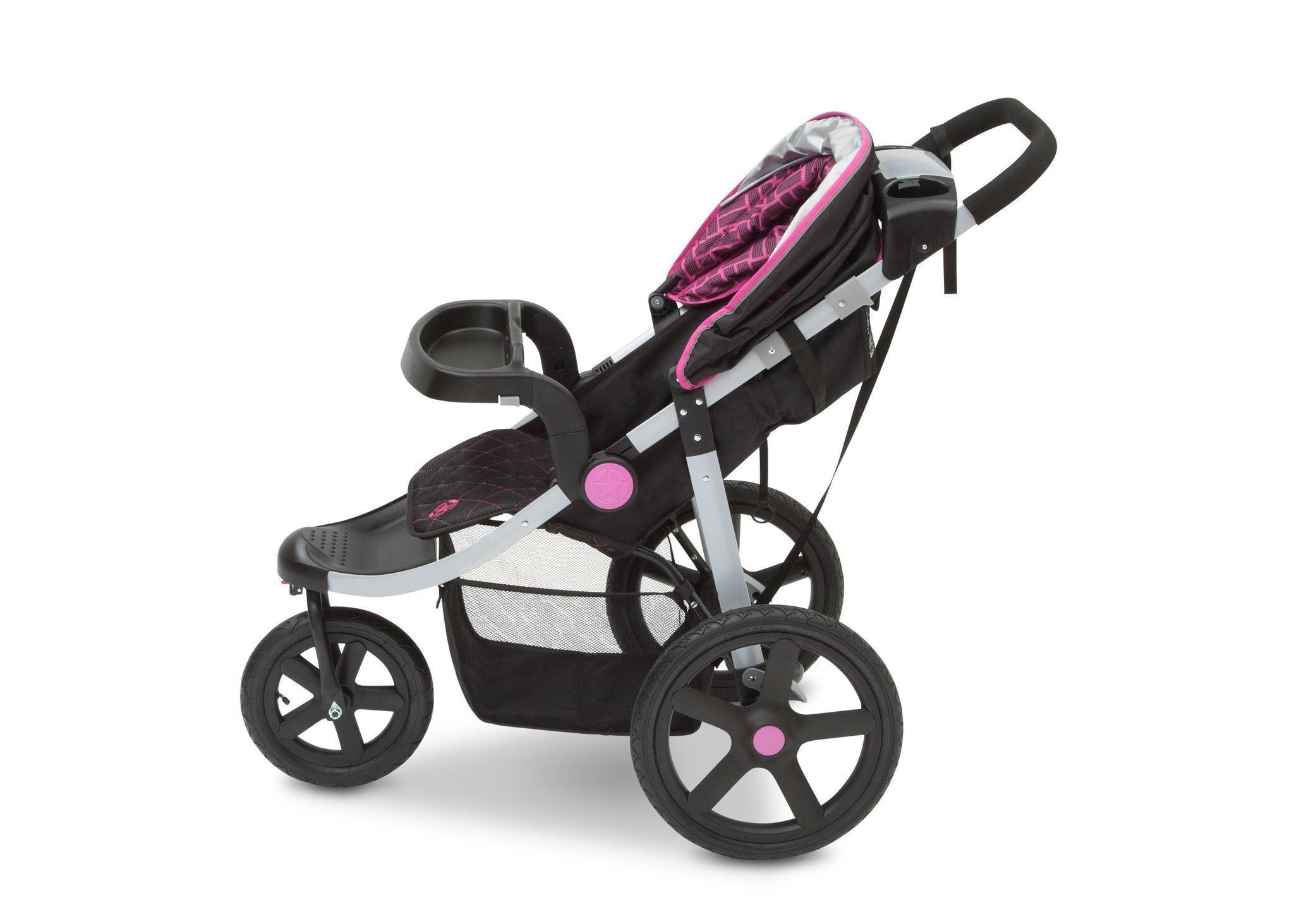 Jeep Adventure All Terrain Jogger Stroller by Delta Children, Berry Tracks (678), with multi-position reclining seat