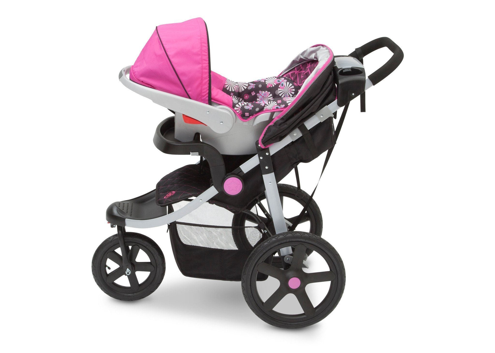 Jeep Adventure All Terrain Jogger Stroller by Delta Children, Berry Tracks (678), with generous undercarriage storage bin
