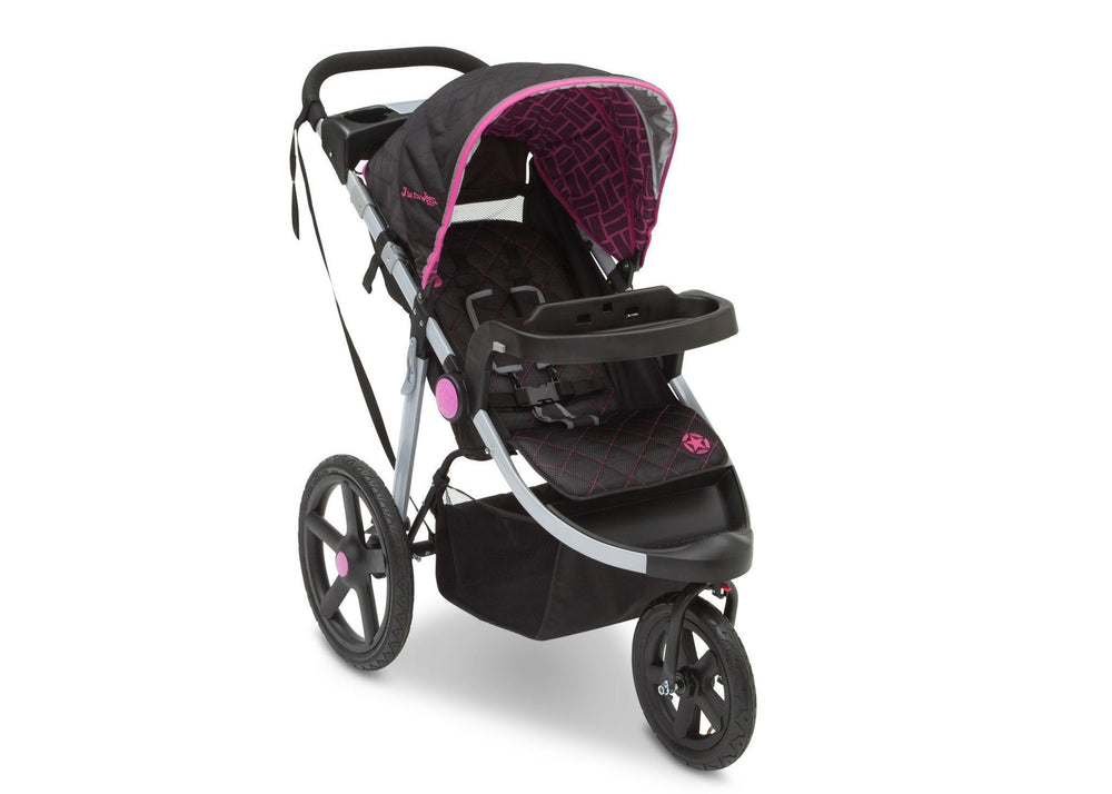 Delta Children Berry Tracks (678) J is for Jeep Brand Adventure All Terrain Jogger Stroller Right Side View, with Canopy and Child Tray Tracks b1b