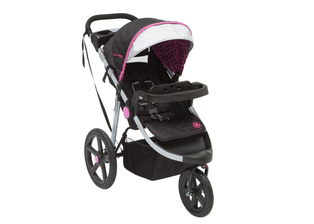 Delta Children Berry Tracks (678) J is for Jeep Brand Adventure All Terrain Jogger Stroller Right Side View, with Canopy, Child Tray Tracks and Sun Visor b2b