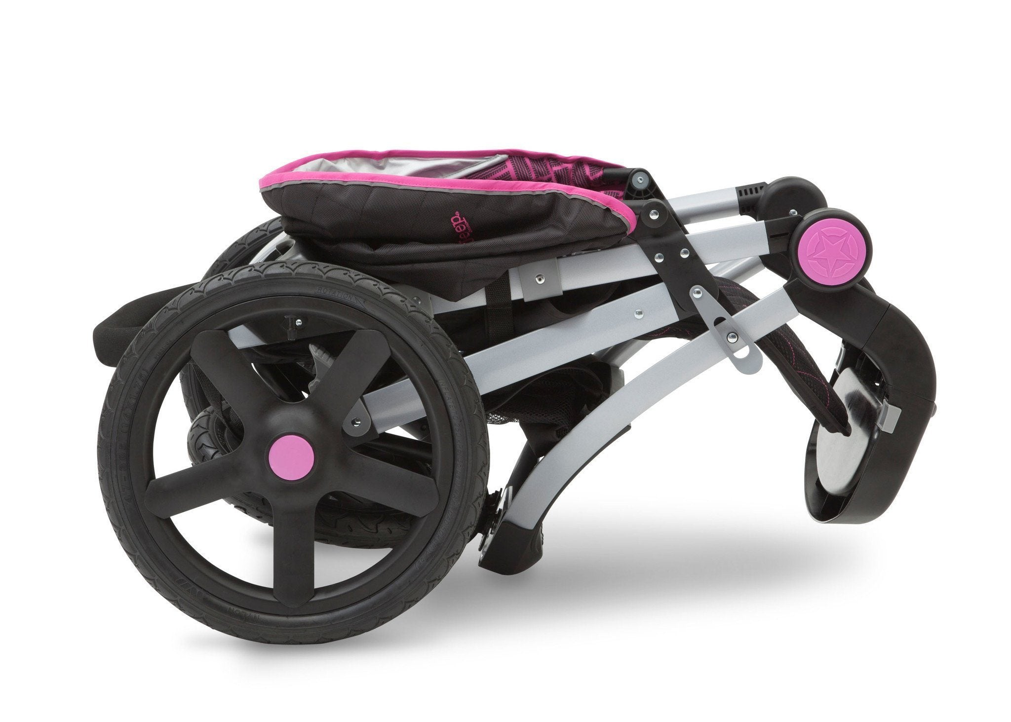 Jeep Adventure All Terrain Jogger Stroller by Delta Children, Berry Tracks (678), can be folded quickly and compactly