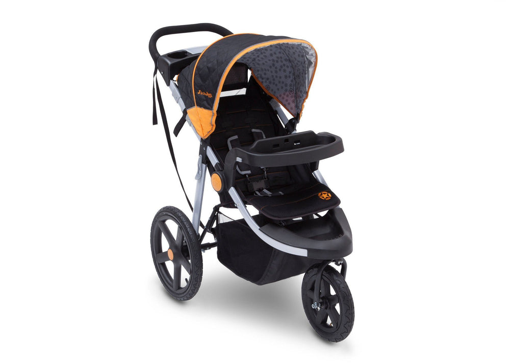 Delta Children Galaxy (850) J is for Jeep Brand Adventure All Terrain Jogger Stroller Right Side View, with Canopy and Child Tray Tracks c1c